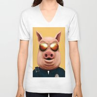 pigs V-neck T-shirts featuring PIGS by Brandon Juarez
