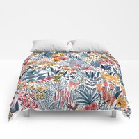 Comforters featuring Flowers by Mouni Feddag