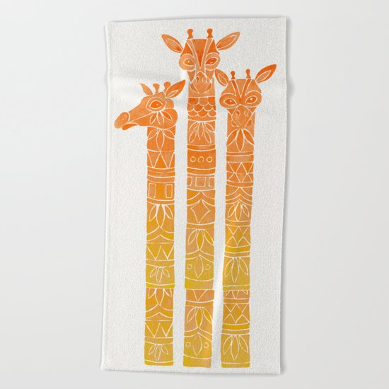 Giraffes – Orange Ombré Beach Towel