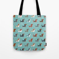 dachshund Tote Bags featuring DACHSHUND by Doggie Drawings
