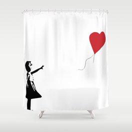 Banksy Girl with Heart Balloon Shower Curtain