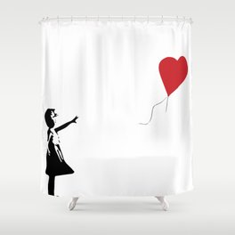 Banksy Girl with Heart Balloon Shower Curtain