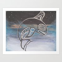 killer whale Art Prints featuring Killer Whale  by JessaDee`Designs