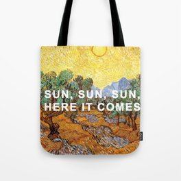 Here Comes the Yellow Sky and Sun Tote Bag