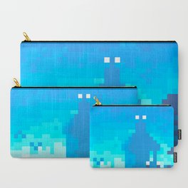 Pixel Town at Sundown - Blue Carry-All Pouch
