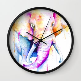Elephant Watercolor Art Wall Clock