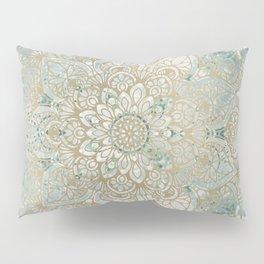 Mandala Flower, Teal and Gold, Floral Prints Pillow Sham