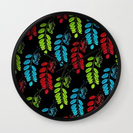 Red, Green and Blue Black Locust Wall Clock