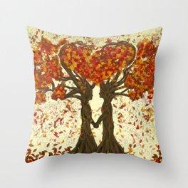 Digital painting of the season of Autumn Throw Pillow