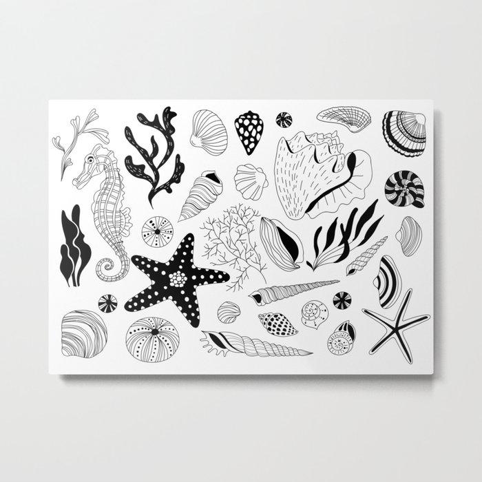 Tropical underwater creatures and seaweeds Metal Print