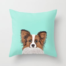 Papillon cute dog fluffy puppy funny valentine love pet gift for dog person with papillon dog Throw Pillow