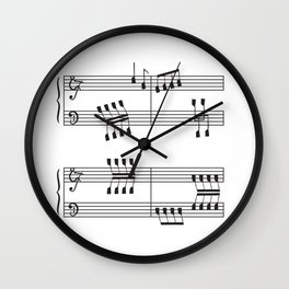 Rowing & Music 3 - Rowing with notes on the Music sheets Wall Clock