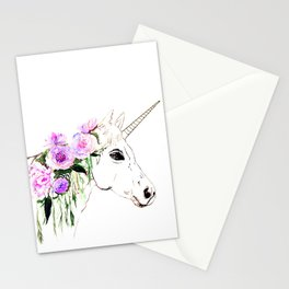 Unicorn with purple flowers Stationery Cards