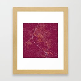 BLACKSBURG VIRGINIA COLLEGIATE MAP HANDRAWN Framed Art Print
