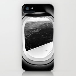 Window Seat // Scenic Mountain View from Airplane Wing // Snowcapped Landscape Photography iPhone Case