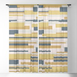 Wright. Modern Geometric Abstract in Mustard Yellow, Navy Blue, Pale Blush Pink, and Taupe Sheer Curtain