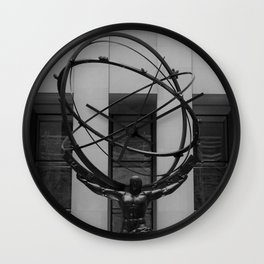 NYC Atlas in Rockefeller Center Statue in Black and White Wall Clock