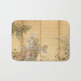 Japanese Edo Period Six-Panel Gold Leaf Screen - Spring and Autumn Flowers Bath Mat
