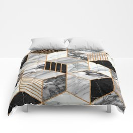 Marble Cubes 2 - Black and White Comforters