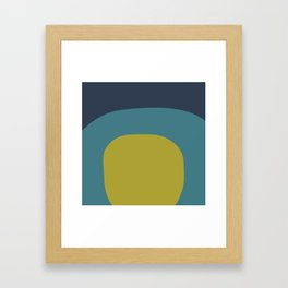 Miracle Rock in Yellow & Blue _Block Colour Framed Art Print