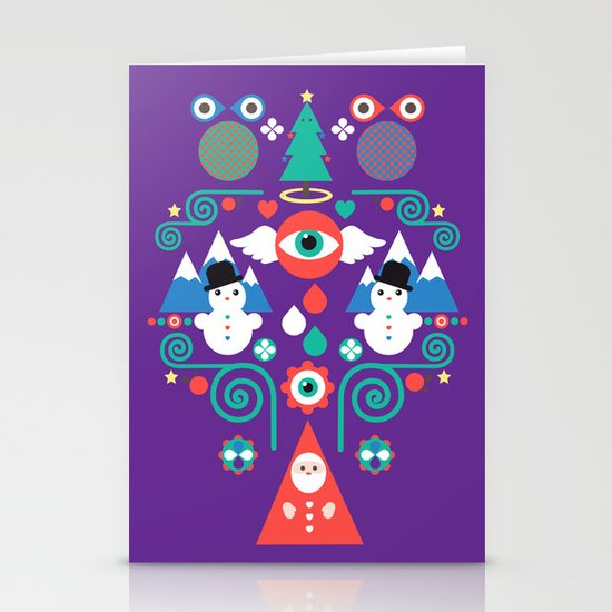 Christmas - purple pop Stationery Cards