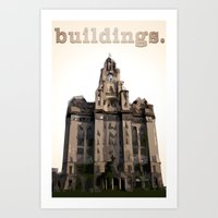 buildings Art Prints featuring Buildings by Wis Marvin