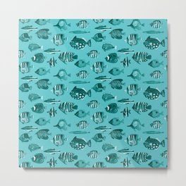 School of Tropical Fish Blue Metal Print