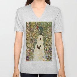 Gustav Klimt Garden Path With Chickens Unisex V-Neck