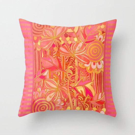 Drawn into the Garden Throw Pillow