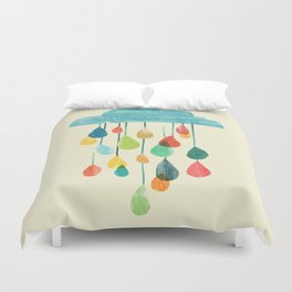 cloudy with a chance of rainbow Duvet Cover