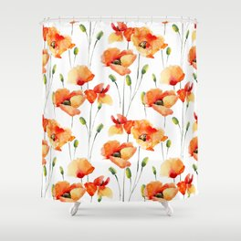 Hand Painted orange yellow watercolor poppies floral Shower Curtain