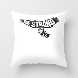 Eagle Motivaton - Strong And Brave Throw Pillow