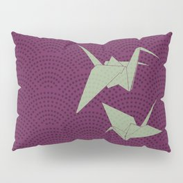Origami paper cranes on purple waves Pillow Sham