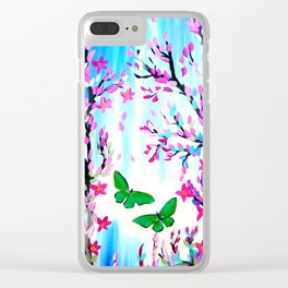 Cherry Blossoms and Butterflies Clear iPhone Case