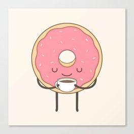 donut loves coffee Canvas Print