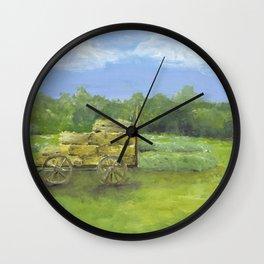 Hay Wagon in a Farm Field, Country Landscape Art Wall Clock