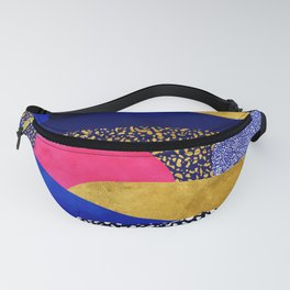 Terrazzo galaxy blue night yellow gold pink Fanny Pack