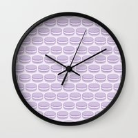 macaroon Wall Clocks featuring Purple Macaroon Pattern - Lavender Macaron by French Macaron Art Print and Decor Store
