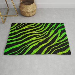 Ripped SpaceTime Stripes - Green/Lime Rug