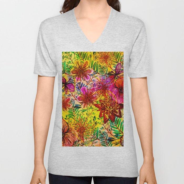 Tropical Hot Heat Flower Hibiscus Garden Unisex V-Neck