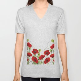 Poppy Mohn Flower Field Unisex V-Neck