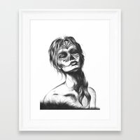 sugar skull Framed Art Prints featuring Sugar Skull by Lena Safaniouk