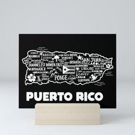 Puerto Rico Map  Mini Art Print