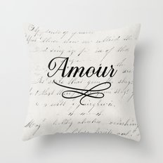 amour - white Throw Pillow