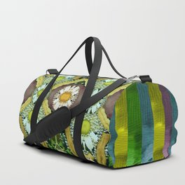 Bread sticks and fantasy flowers in a rainbow Duffle Bag