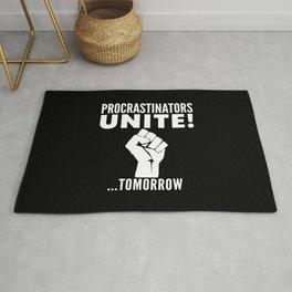 Procrastinators Unite Tomorrow (Black & White) Rug