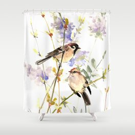 Sparrows and Spring Blossom Shower Curtain