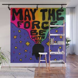 """""""Rainbow May The Force Be With You"""" by Doodle by Meg Wall Mural"""