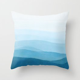 Navy blue ombré watercolor background  Throw Pillow