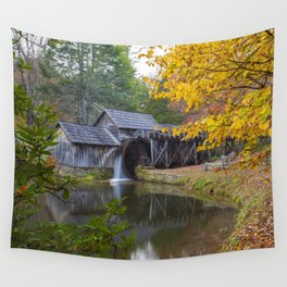 Rustic Mill in Autumn Wall Tapestry